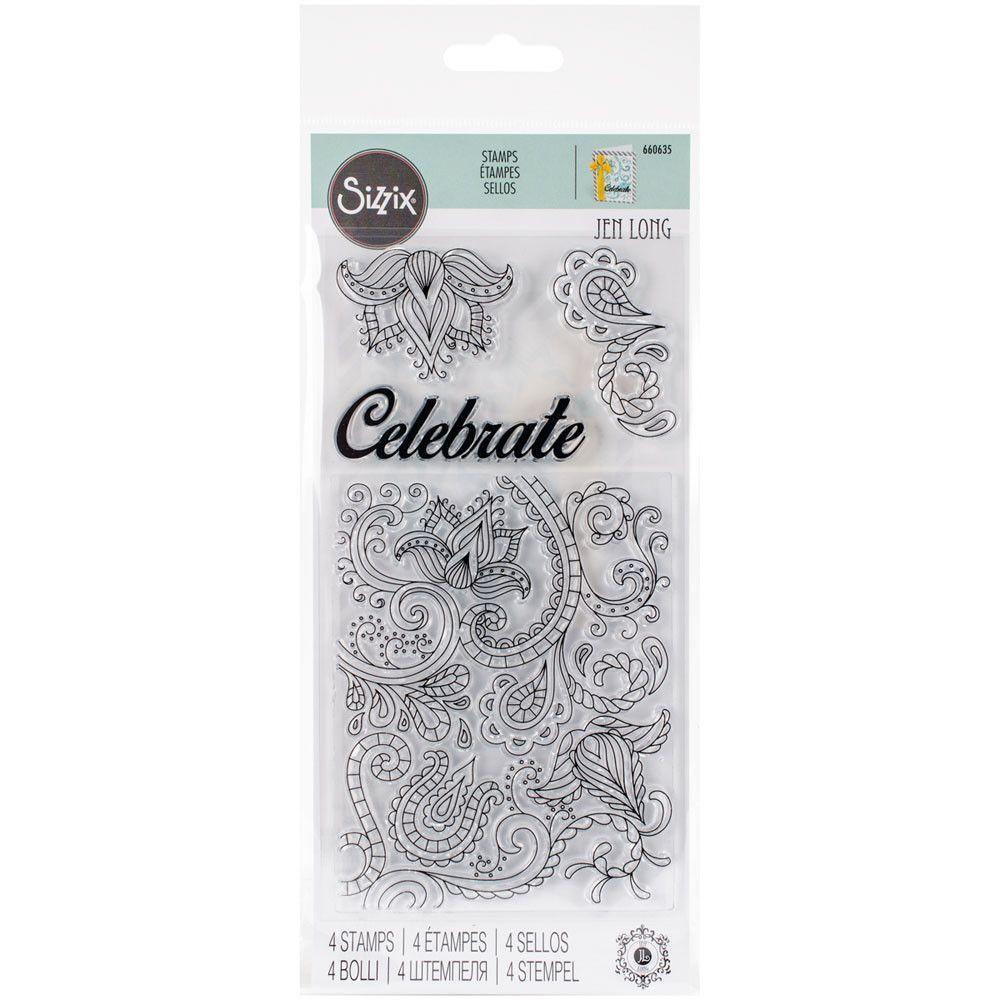 Sizzix Clear Stamps By Jen Long - Celebrate Flowers