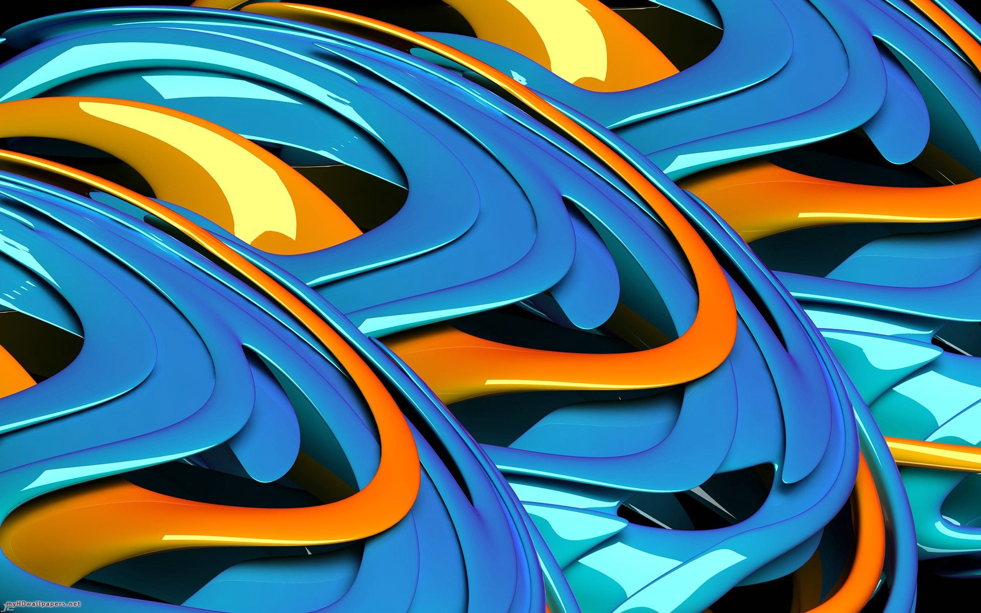 3d hd blue orange Cool blue wallpaper