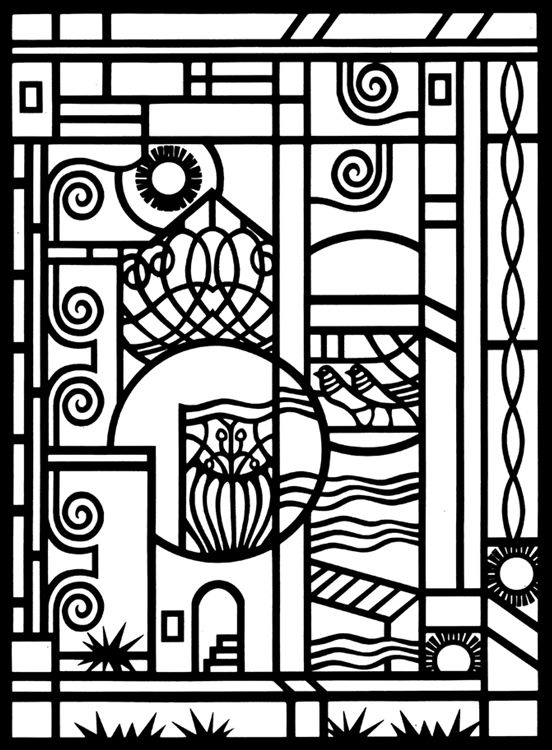 art deco designs stained glass coloring page