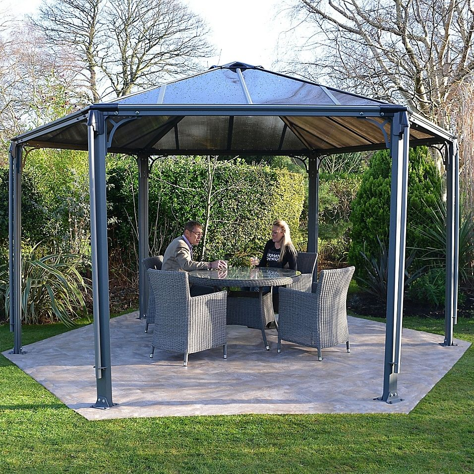 Palram Monaco 15 Foot X 13 Foot Hexagon Garden Gazebo In Grey Patio Gazebo Outdoor Pergola Pergola Patio