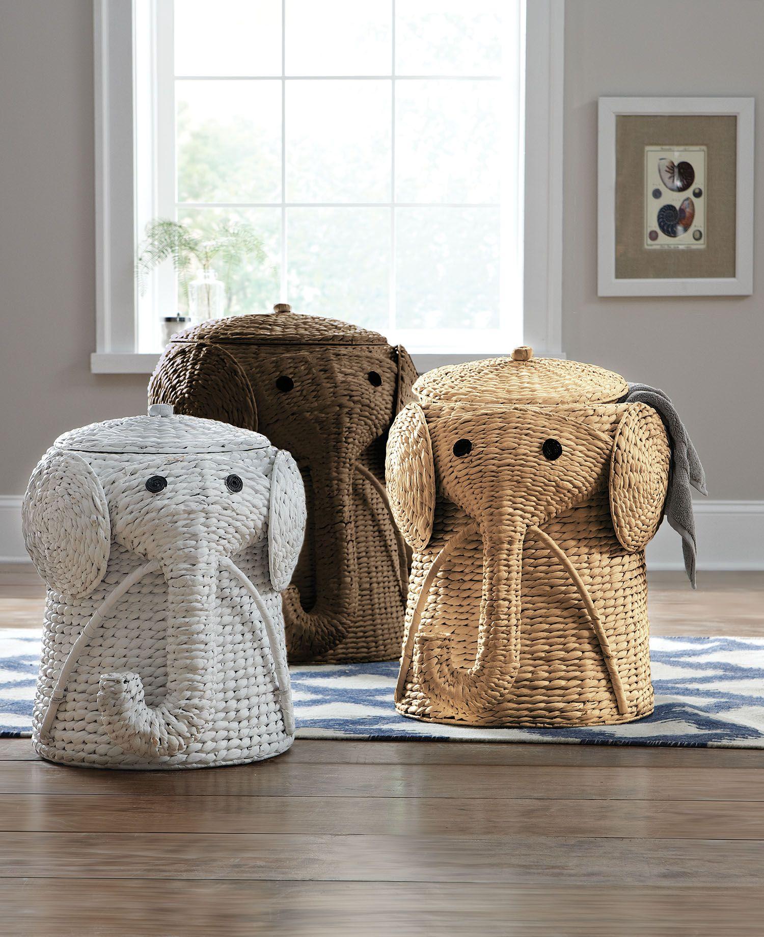 Keep dirty laundry hidden in a fun elephant hamper for Elephant bathroom accessories