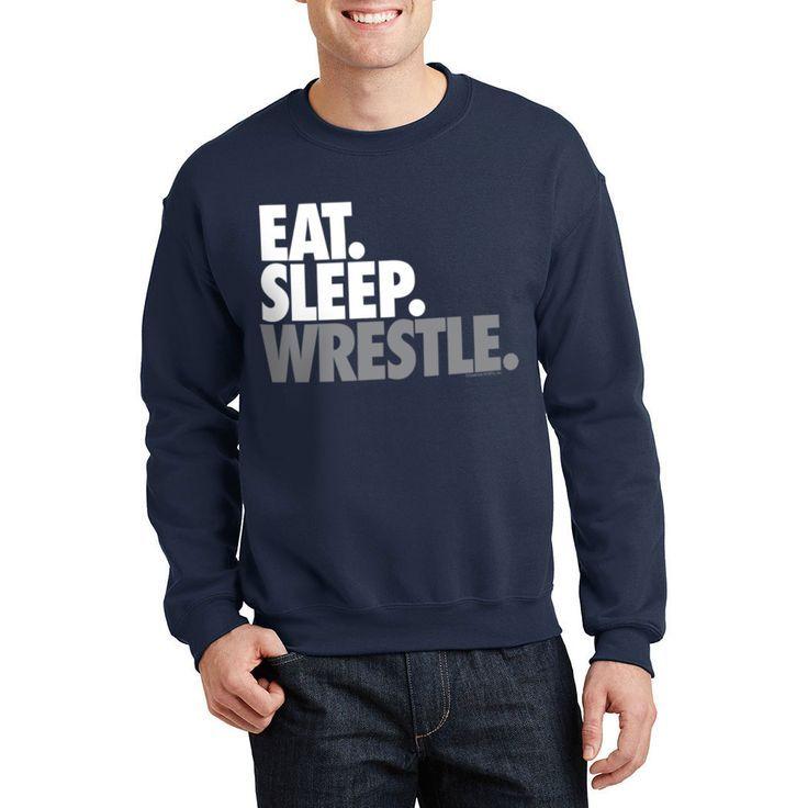 Wrestling Crew Neck Sweatshirt  Eat Sleep Wrestle Stack  Navy AM Unisex