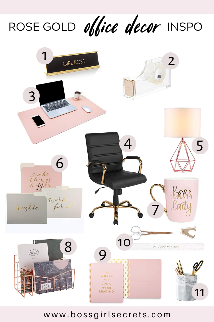 Rose Gold Office Decor Inspiration in 12  Gold office decor