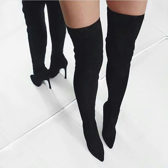 Ll Gisele-7 Thigh High Stretchy Suede Material Pointy Toe Stiletto Heel Boots Black