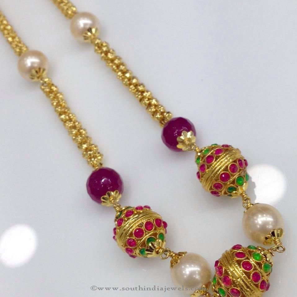 Ruby emerald stone chain necklace from swarnakshi wedding bride
