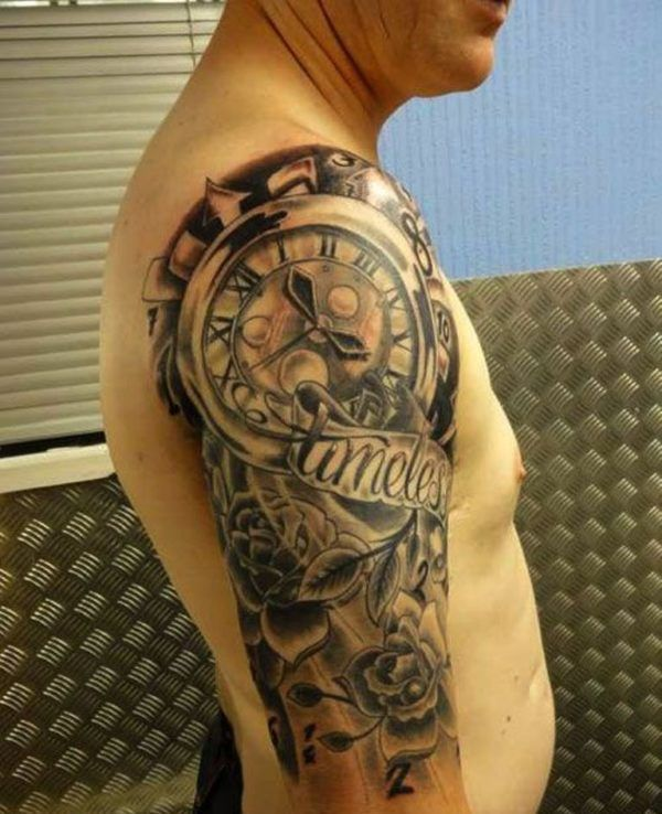 Clock Shoulder Tattoo Design