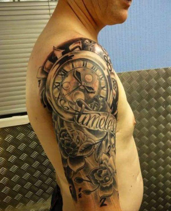 Clock Shoulder Tattoo Design Tattoo Sleeve Tattoo Designs Men