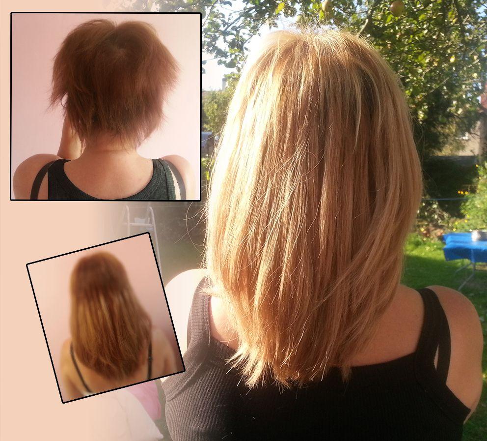 Hair Extensions For Short Hair Using Honey Blonde Nano Rings