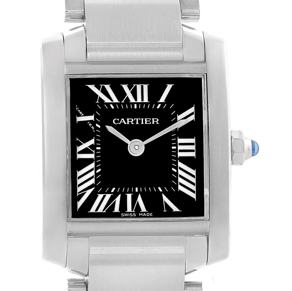 16689 Cartier Tank Francaise Black Dial Steel Ladies Watch W51026q3 Swisswatchexpo