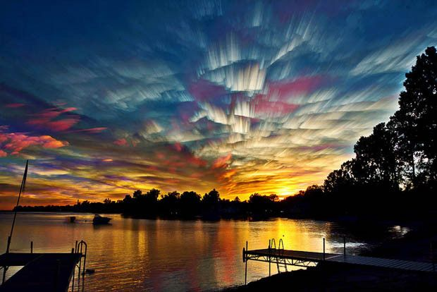 Stacking long-exposure photos of clouds,   photographer: Matt Molloy