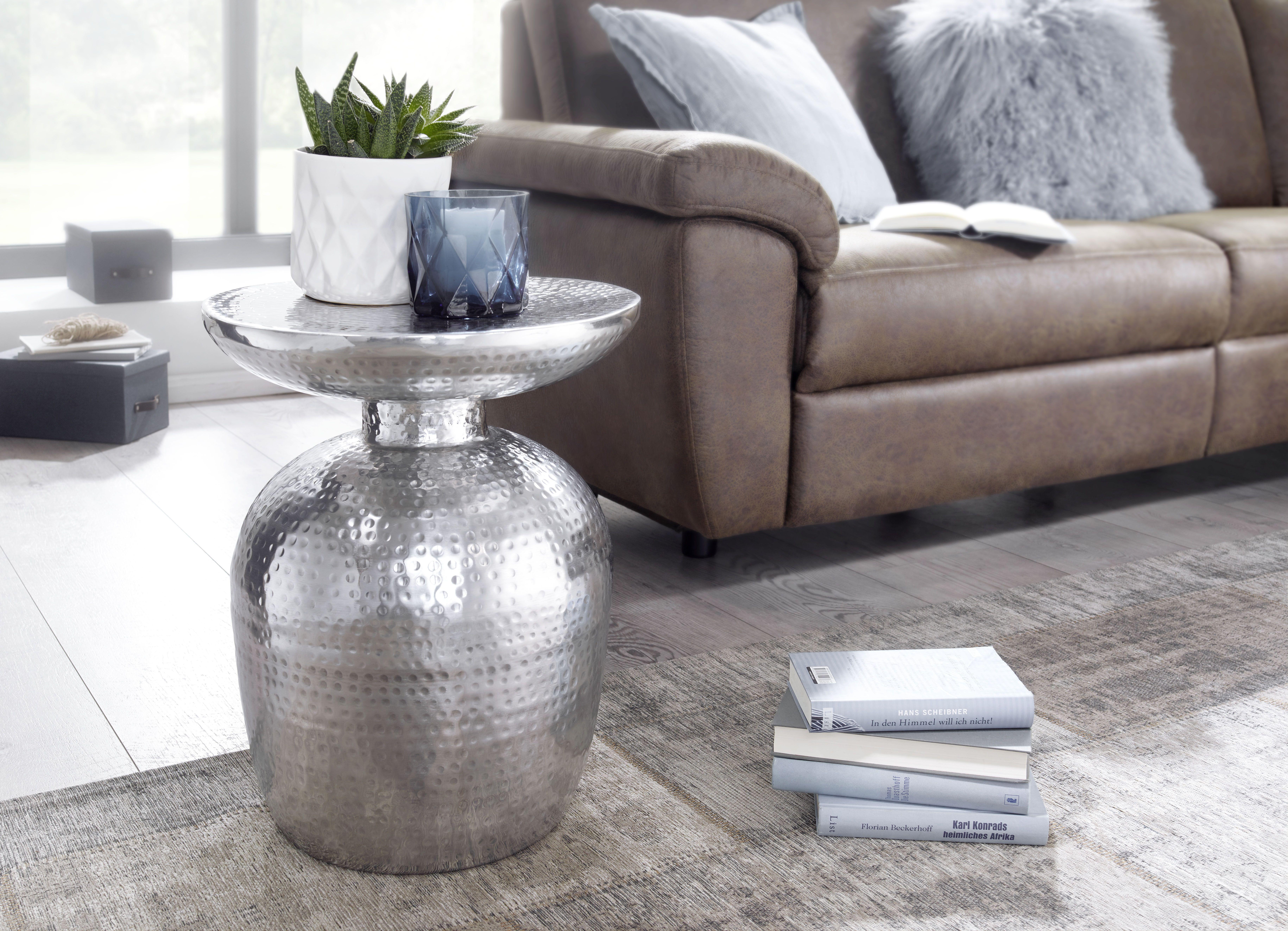 Silber Metall Blumentisch Ablage Vasenform Dekotisch Anstelltisch Kleiner Hammerschlag Abstelltisch Rund Orientalisch Beistelltisch Tisch Kleinmobel