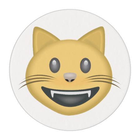 Smiling Cat Face With Open Mouth Emoji Edible Frosting Rounds