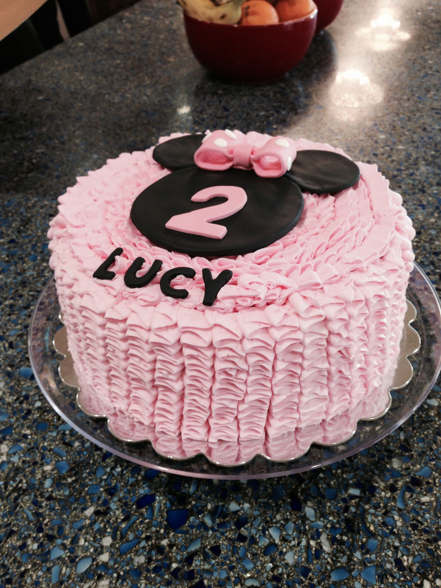 Minnie Mouse Ruffled Cake With Images Round Birthday Cakes