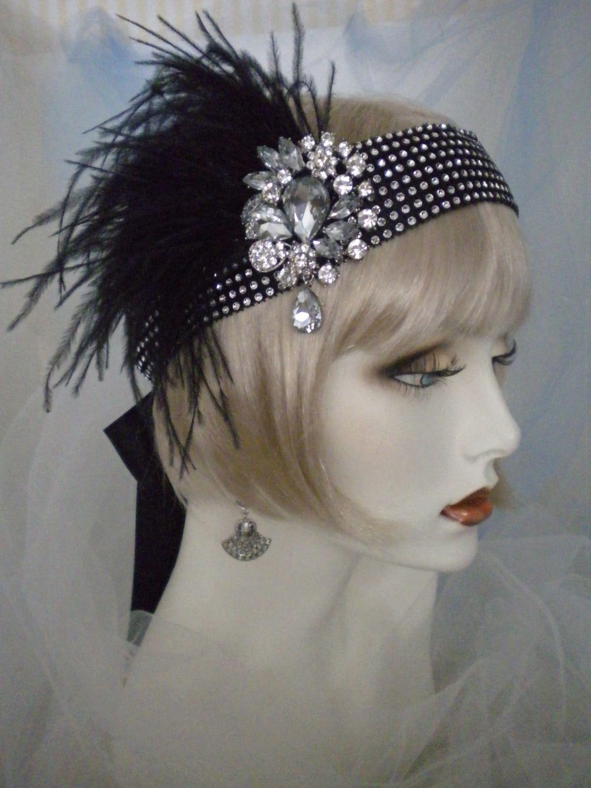 1920s Headpiece Flapper Headband Black Feathers Gatsby Crystals