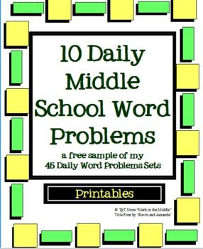 10 daily middle school math word problems free for the home. Black Bedroom Furniture Sets. Home Design Ideas