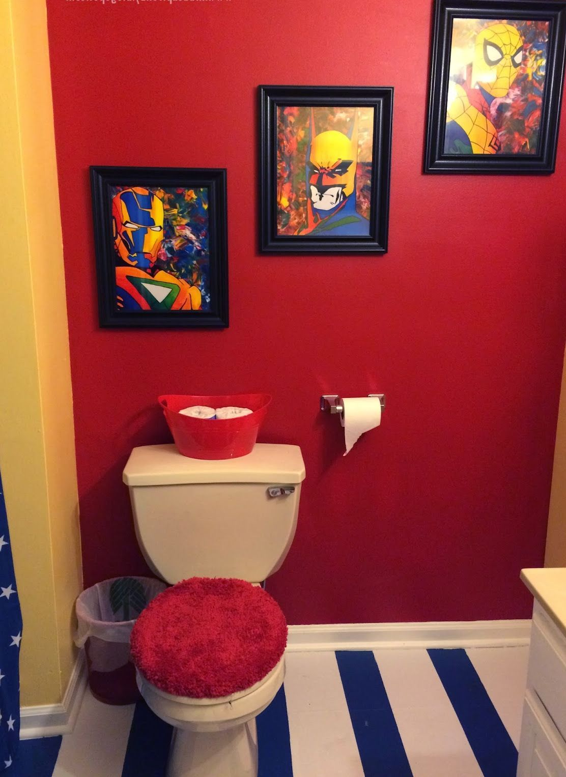 Cool Bathroom With Red Wall Paint And Spiderman Abd Captain America Wall  Arts : Brilliant Ideas