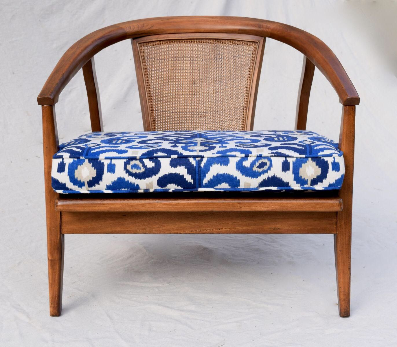 Mid Century Modern Cane Barrel Chairs Printed Dining 1950s Danish Style Back Chair On Chairish Com
