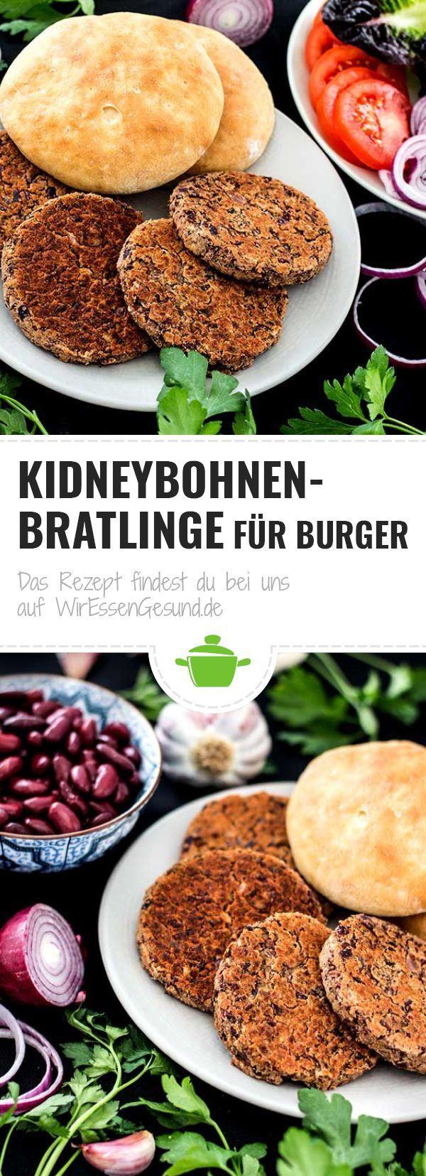 Kidneybohnen-Bratlinge für Burger - WirEssenGesund ,  #BURGER #für #Kidneybohnenbratlinge #vegansouprecipes #WirEssenGesund