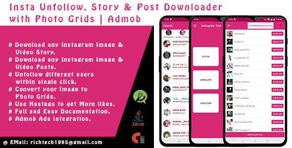 Insta Unfollow, Story & Post Downloader with Photo Grids