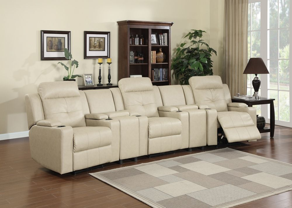 5 pc Aviator collection sand color bonded leather theater seating power motion reclining sectional sofa set & 5 pc Aviator collection sand color bonded leather theater seating ... islam-shia.org