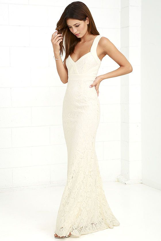 af893452df34c ... with the Full Circle Cream Lace Maxi Dress! Curved, adjustable chiffon  straps frame a floral lace bodice with a sweetheart neckline and center  cutout, ...