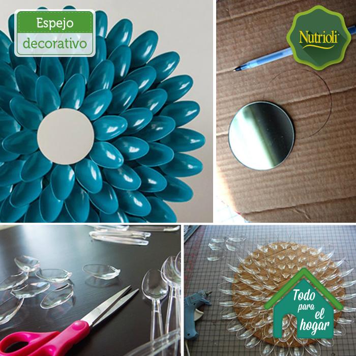 Convierte las cucharas de plástico en un divertido marco para espejo ...