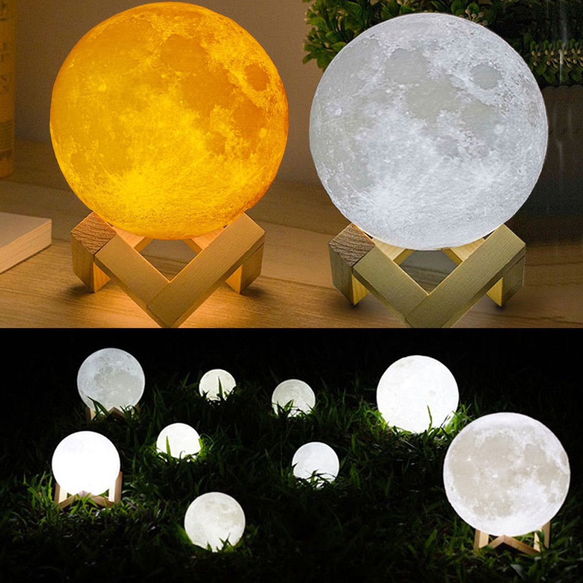 Decbest 15cm 3d Magical Two Tone Moon Lamp Usb Charging Led Night Light Touch Sensor Velantine Giftis Diversiform Newchic Mobile Led Night Light Night Light Lamp Moon Light Lamp