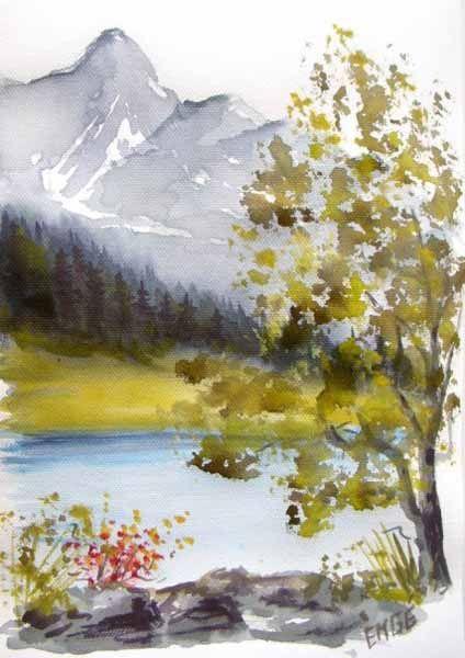Arts Web Group Galerie Tableau 028 Peintures De Montagne Aquarelles Faciles Arbres En Aquarelle