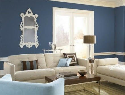 Wall blue with white living room
