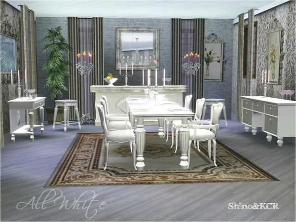Shino Elegant Dining Room With 14 Pieces In White And Wood Tones At TRS