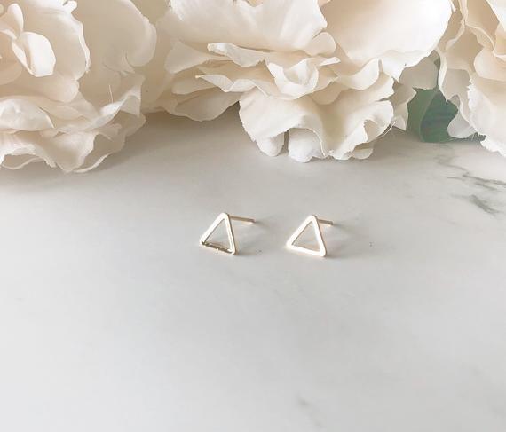Silver Open Triangle Stud Earrings Dainty Earrings