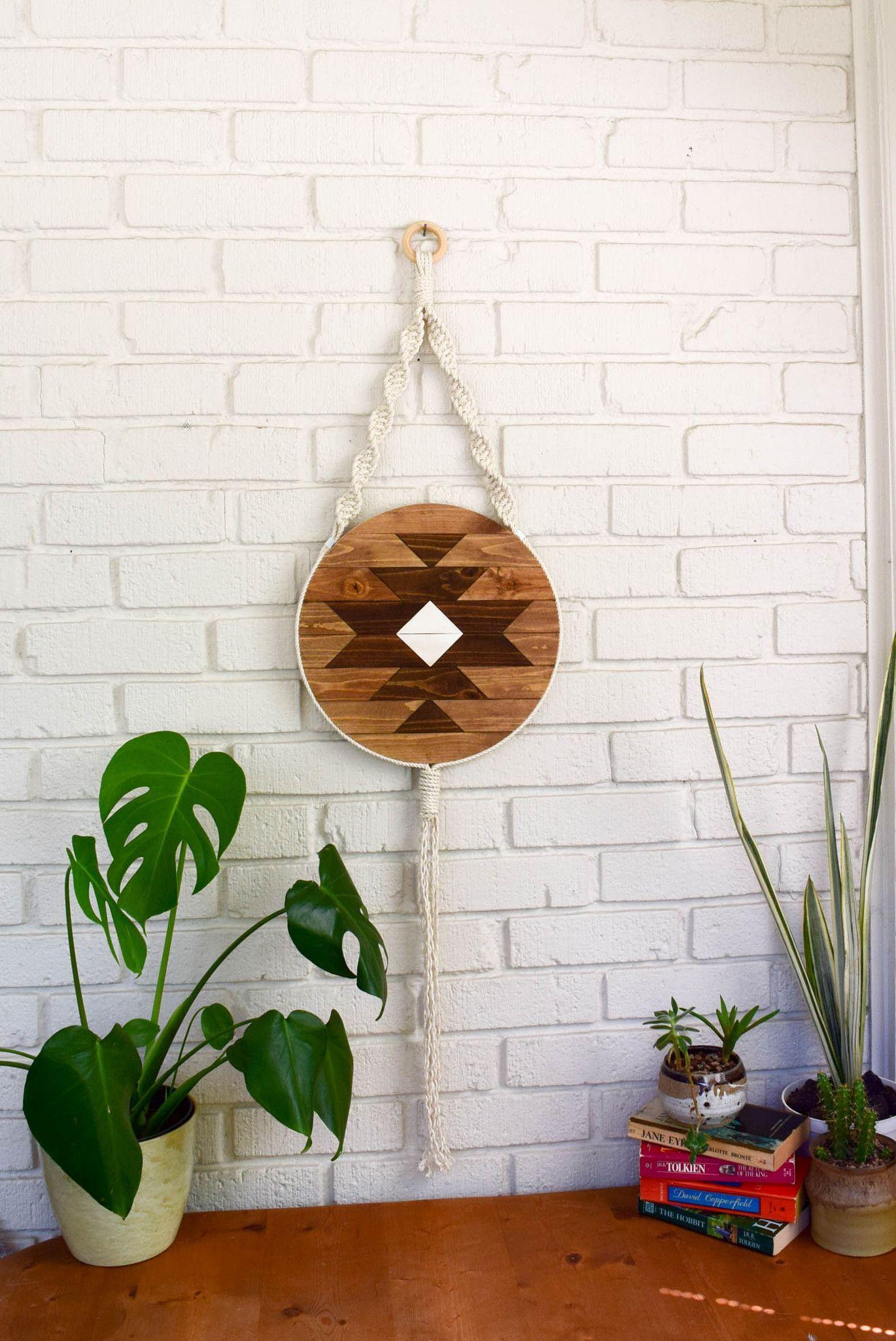 Carme round macrame wood wall art hanging wood wall art wood