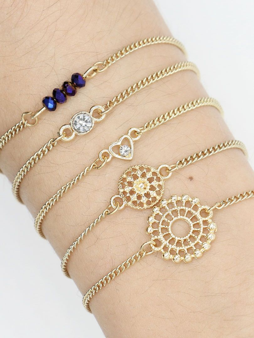 Golden Jeweled Heart And Cut Out Floral Bracelet Pack