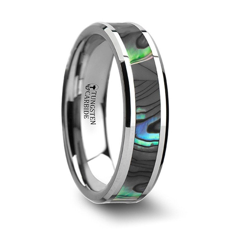 Corvallis wedding band tungsten mother of pearl