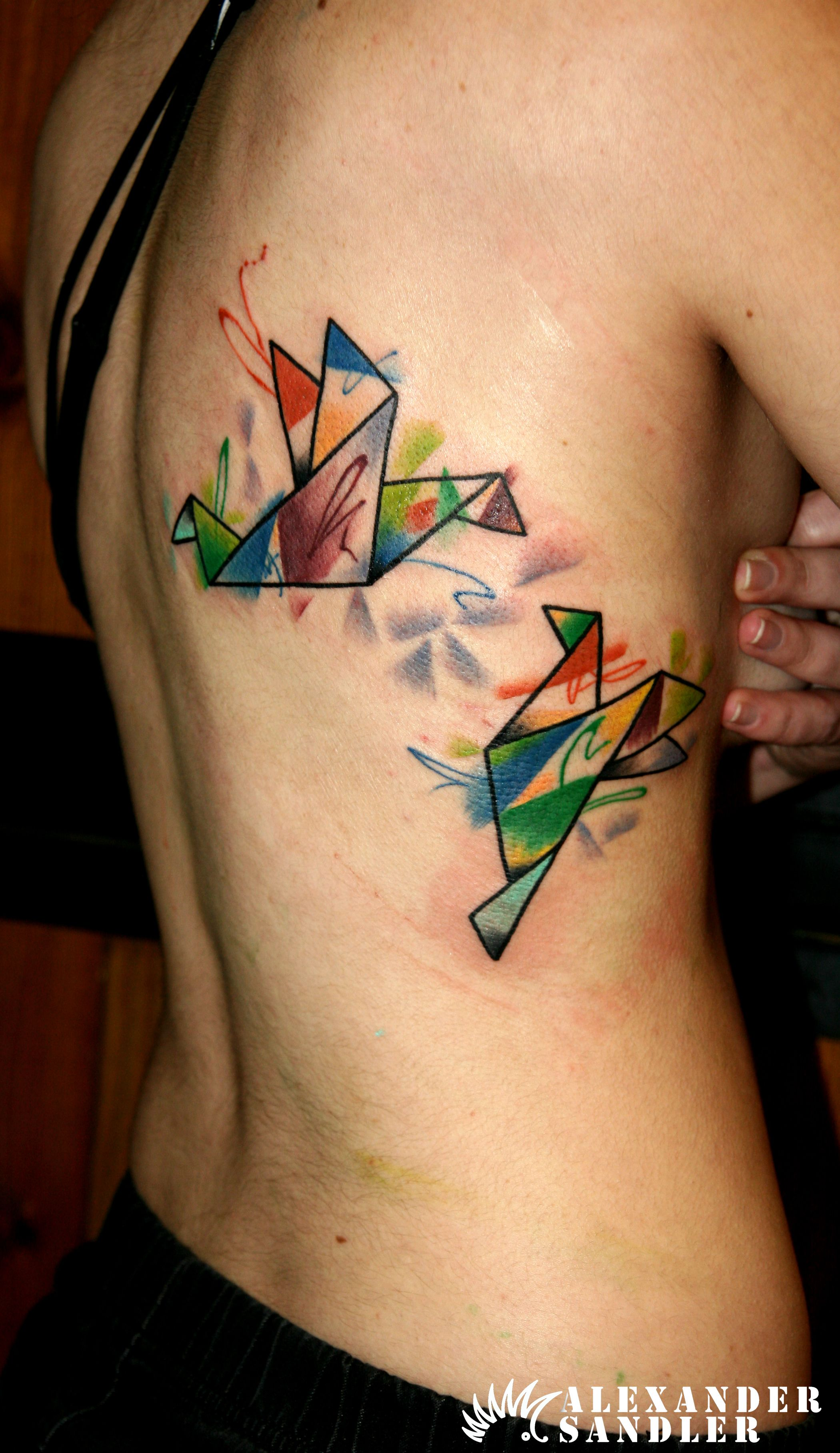 Watercolor  origami tattoo by Alexander Sandler kipodd@gmail.com