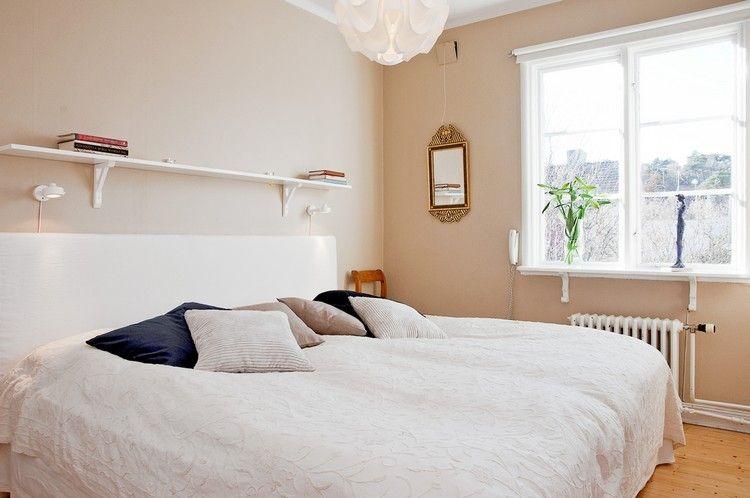 GroB Farbgestaltung Im Schlafzimmer  Neutral Creme Beige Weisses Bett