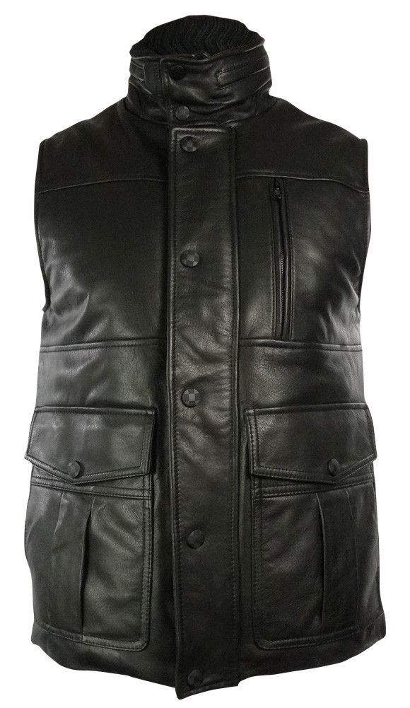 Vince Camuto Men's Thinsulate Leather Bomber Vest