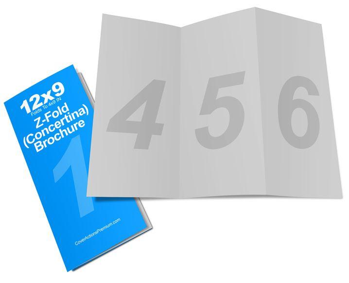 z fold brochure mockup 12 x 9