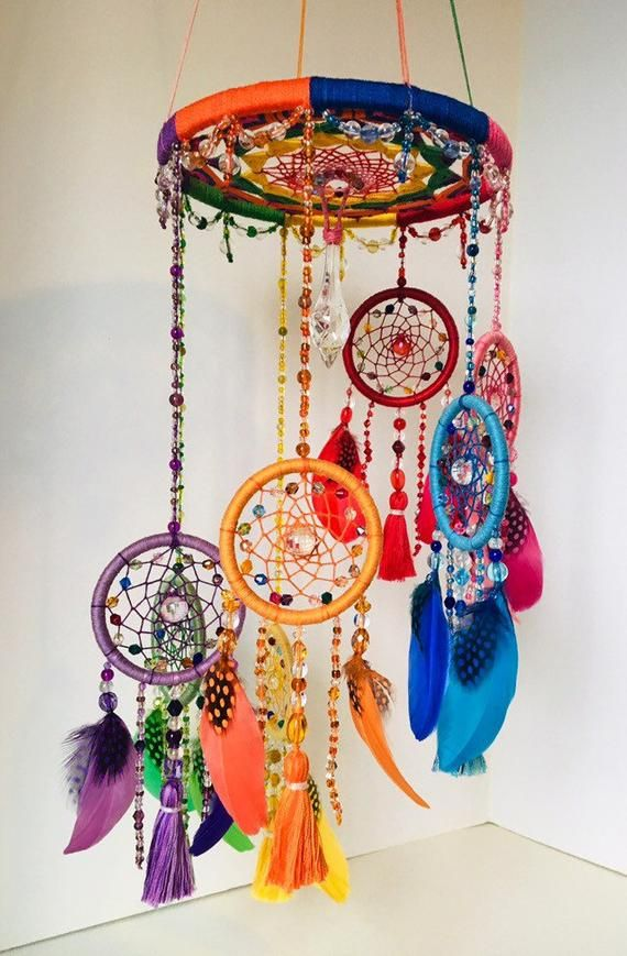Rainbow Mobile Dream Catcher Recycled and New Materials Handmade