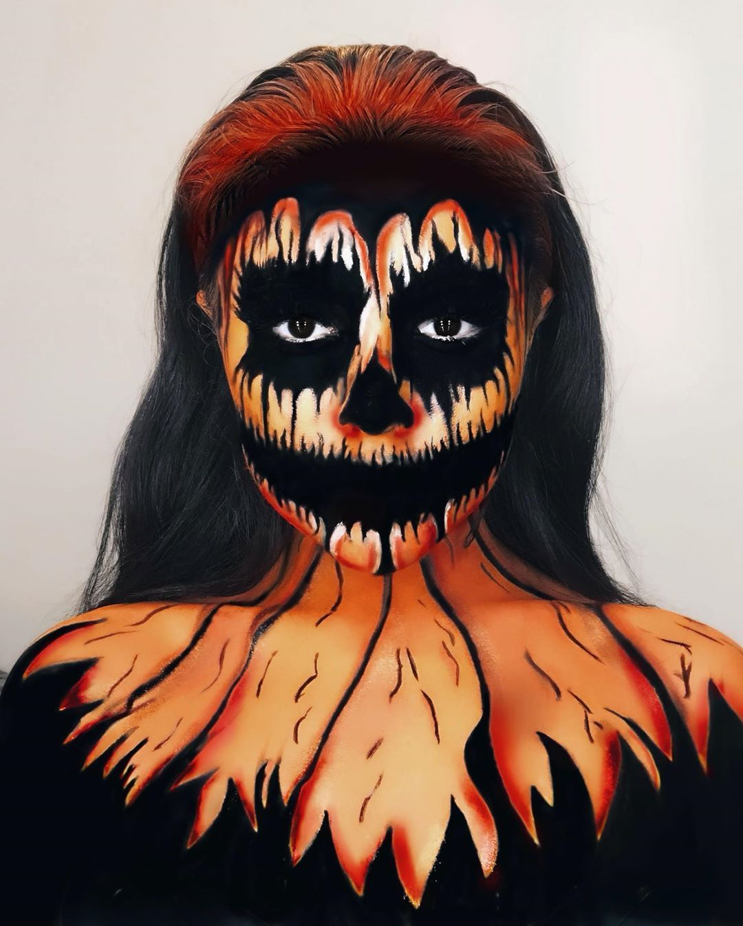 PUMPKIN ON FIRE 2019 vs 2018  This really does show me my progression  Inspo @makeupbymeg____  @ispyeyes blackout lenses  @nyxcosmetics black liquid eyeliner  @diamondfx_official pastels palette @staceymariemua carnival pallet @mehronmakeup black and white face paint  #31daysofhalloween #mehronmakeup #31daysofhalloweenmakeup #mehron #pumpkinmakeup #pumpkin #halloween2019 #halloweenmakeup #sfxmakeup #crazymakeup #facepaint #halloweenmakeupideas #progress #dollmakeup #halloween #dollfacepainting P #dollfacepainting