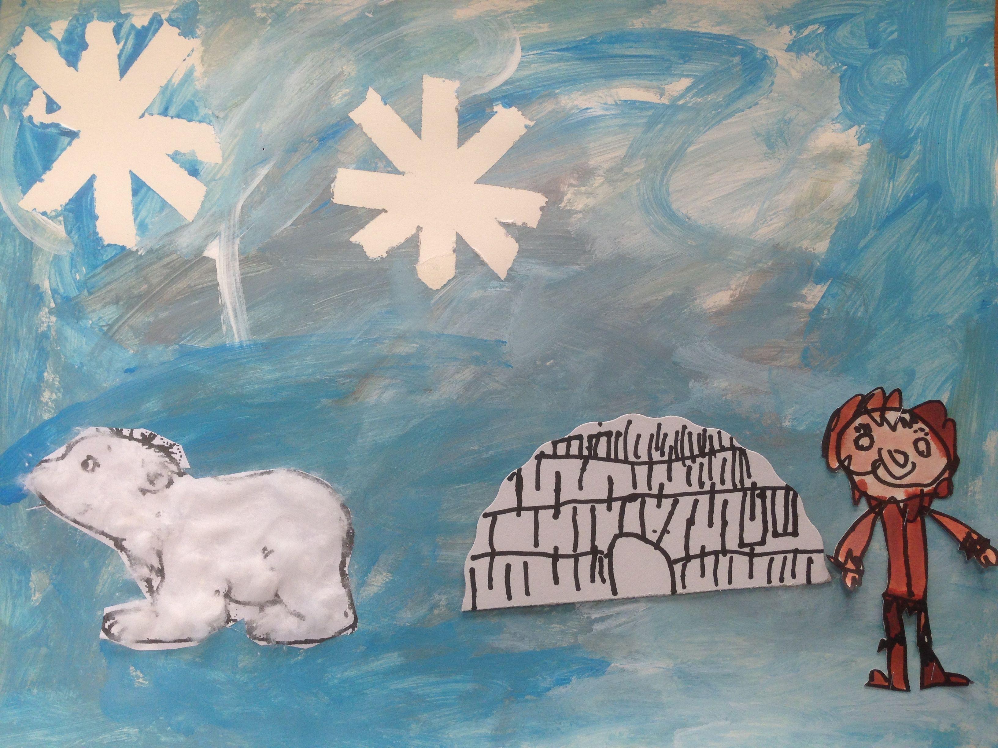 Kleine Ijsbeer Watten Op Uitgeknipte Kleurplaat Achtergrond Met Plakkaatverf Wit Lichtblauw Grijs Sterren Tape Aftrekken Ijsbeer Thema Kleurplaten