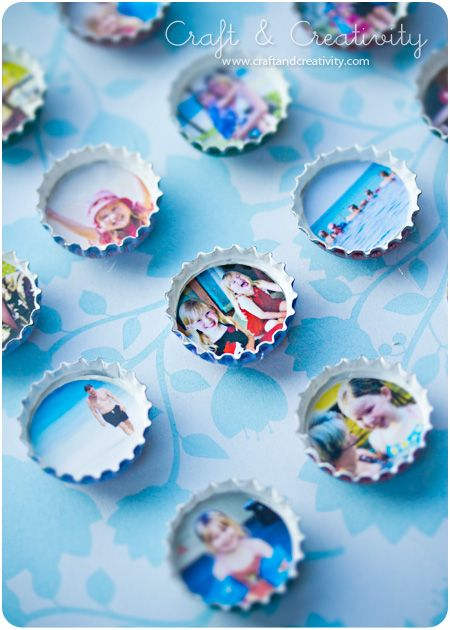 Photo magnets out of bottle caps! Paint the inside of the cap, cut and glue your photo, glue magnet on back or glue a thumb tack for peg boards.