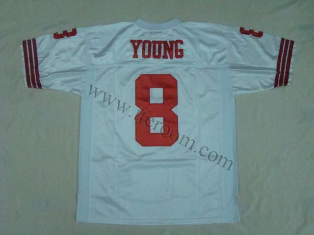 ba43bf6bf San Francisco 49ers  8 Steve Young White Throwback Jersey