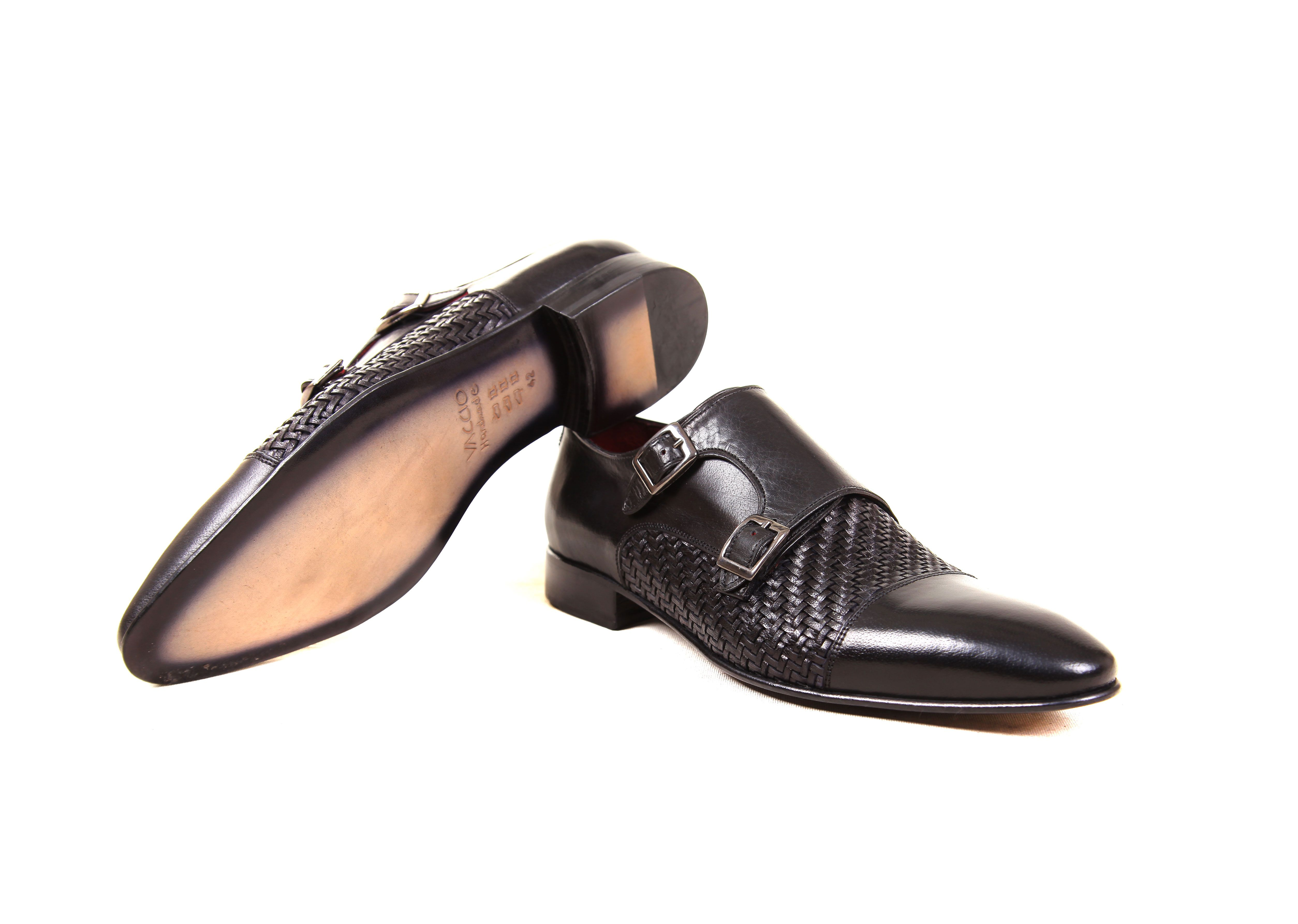 b81382be9e67 HandmadeShoes  Splendore Black. Details   Leather Double-Monk Strap ...