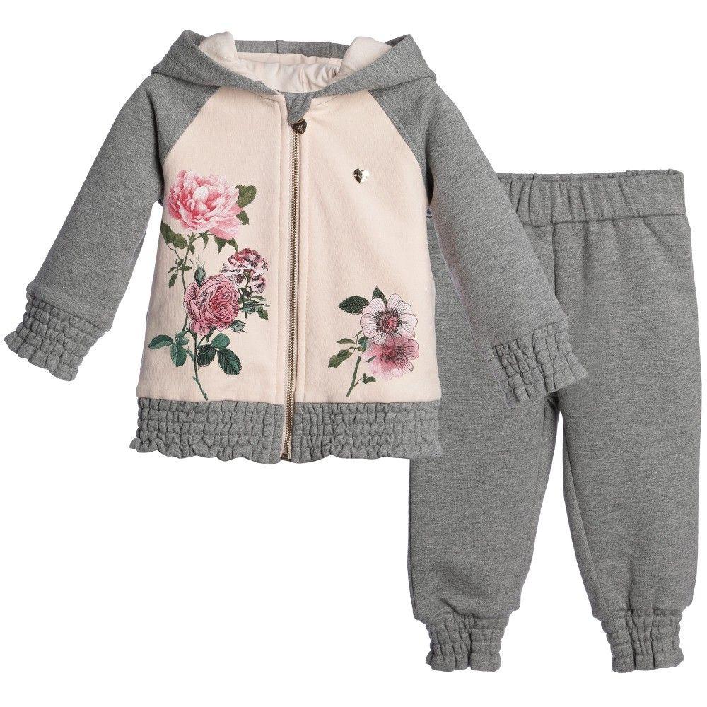 Armani Baby Girls Grey & Pink Floral Tracksuit at Childrensalon.com