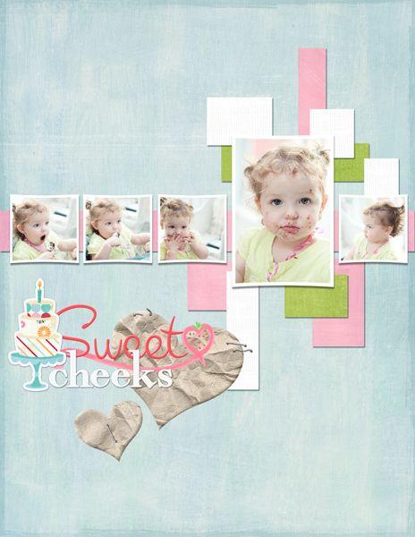 """""""Sweet Cheeks"""" Digital Scrapbooking Layout by Janine Buckles"""