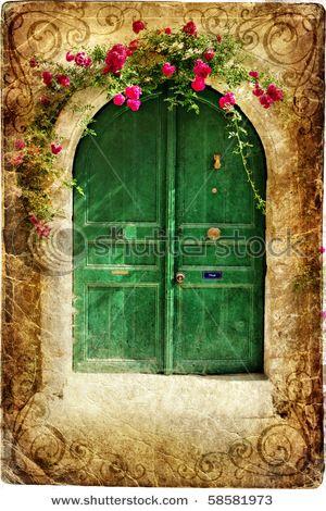 old pictorial greek door