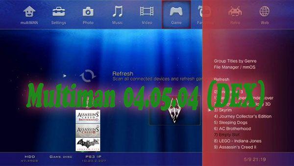 Una nueva versión de Multiman está disponible para los propietarios de consolas equipadas con un Firmware DEX (3.60-4.21).    La característica más importante de ésta versión es que permite cargar los juegos en su BDEMU disco duro. Se instalará DEX Game Mounter. La selección de juegos se realiza a través de un panel de la derecha a diferencia de antes, donde se tenía que cargar de uno en uno desde un PC.