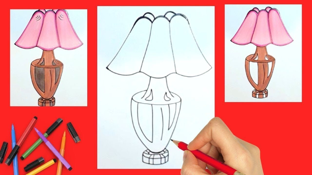 How To Draw Table Lamp Easy Way For Kids Tablelamp Drawing Drawingtips Drawing For Kids Drawing Tutorial Drawings