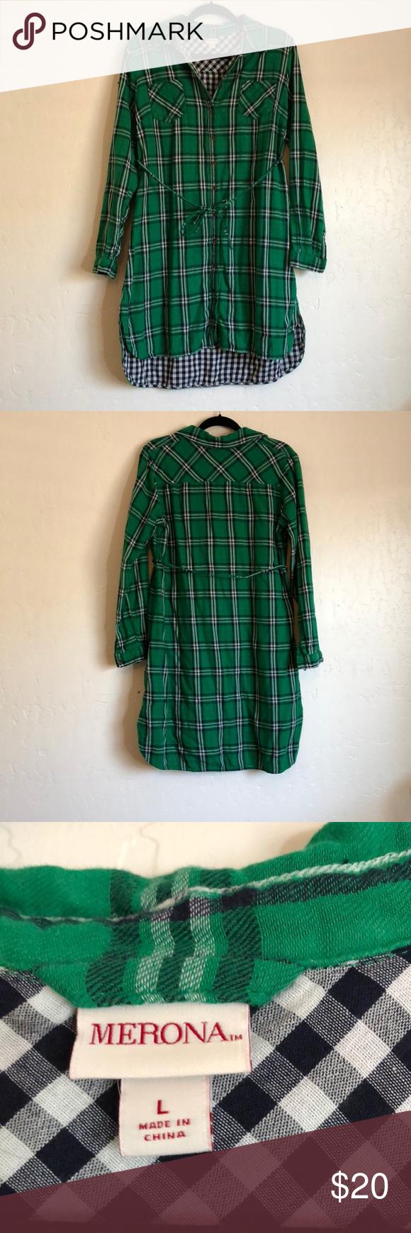 73553d7379 GreenPlaid Dress Green